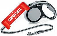 Поводок-рулетка Flexi New Comfort M, 5 м, трос, серый