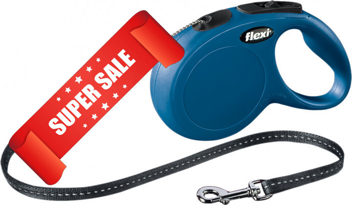 Поводок-рулетка Flexi New Classic S, 8 м, трос, синий