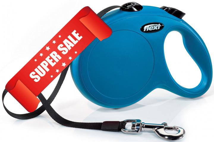 Поводок-рулетка Flexi New Classic L, 5 м, лента, синий