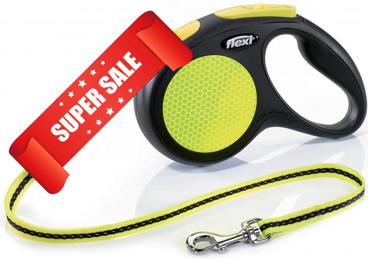 Поводок-рулетка Flexi Neon M, 5 м, трос, черный