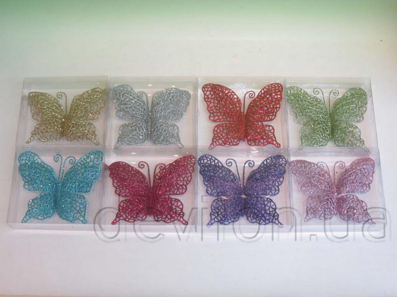 Бабочка на клипсе, 16,5 см, серебро (001125-1)