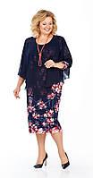 Платье Pretty-935 белорусский трикотаж, темно-синий+цветы, 56