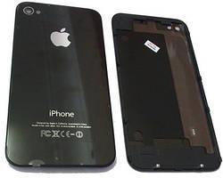 Задняя крышка для iPhone 4 Черная (стекло) полная с креплениями