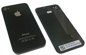 Задняя крышка для iPhone 4S Черная (стекло) полная с креплениями