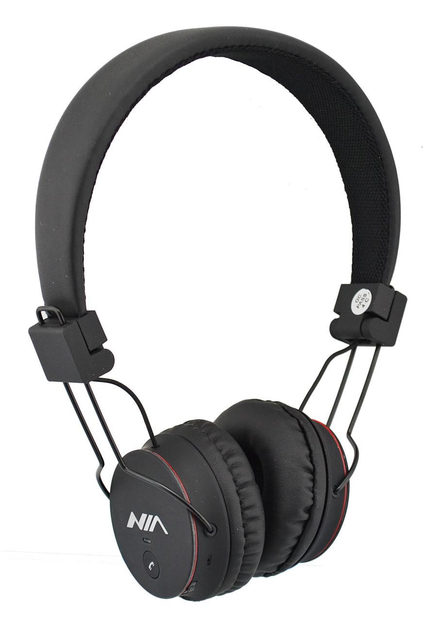 Беспроводные Bluetooth стерео наушники NIA X2 с МР3 и FM Black