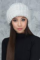 Вязаная шапка с отворотом Вьюга светло-серая