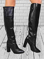 Женские сапоги из натуральной кожи на среднем каблуке