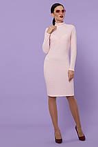 Теплое платье-гольф по колено цвет персиковый, фото 3