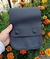 Мужская кожаная сумка из натуральной кожи ручной работы Revier черная