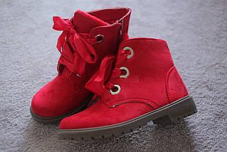 Женские ботинки Тимберленды замшевые красные молния шнуровка 36-40
