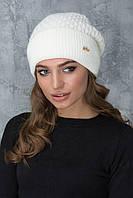 Женская шапочка с отворотом Грэтта молочная