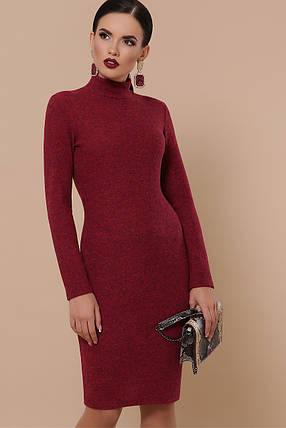 Теплое платье в обтяжку миди длинный рукав цвет бордо, фото 2