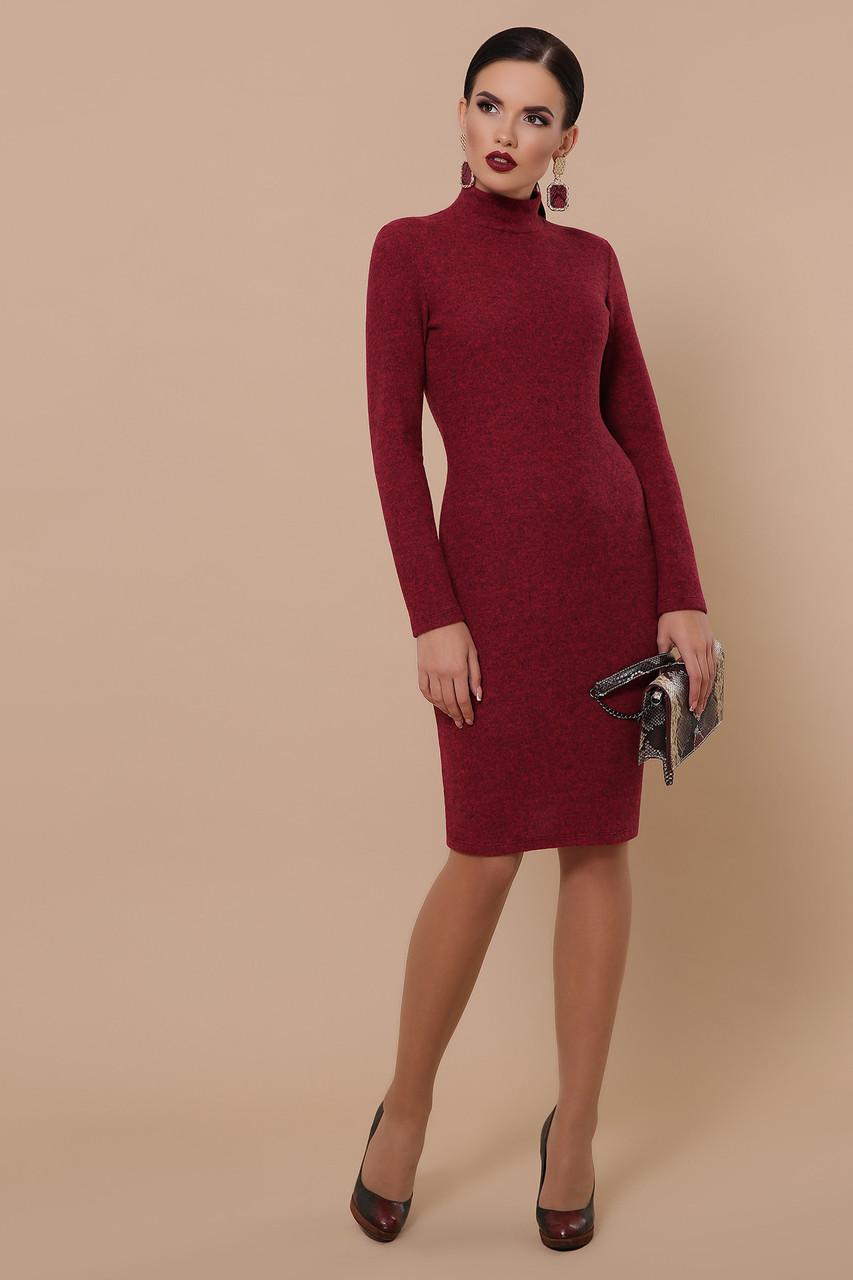 Теплое платье в обтяжку миди длинный рукав цвет бордо