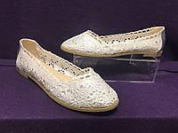 Ажурные балетки женские серебро