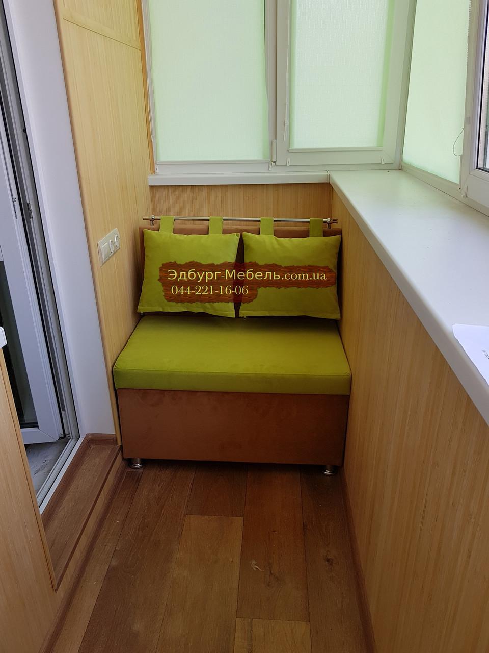 """Диван для кухни, лоджии, балкона """"Комфорт"""" экокожа + ткань 900х500мм"""