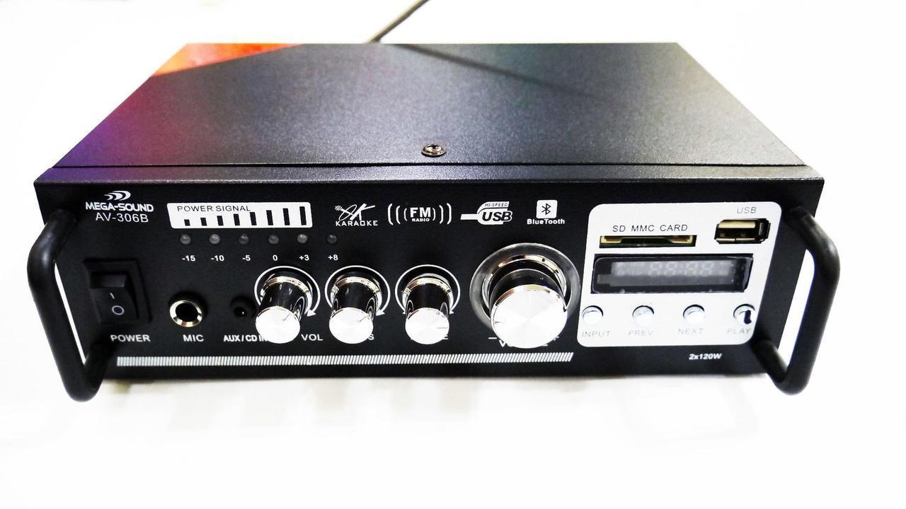 Усилитель звука AV-306B ( Bluetooth + Караоке )
