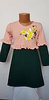 Платье для девочки трикотажное с аппликацией-вышивкой в школу или садик 7171