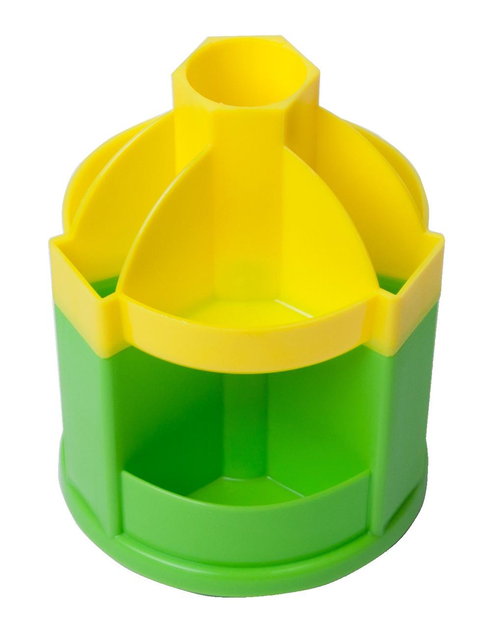Подставка-вертушка канцелярская 10 отделений Joy желто-салатовая Zibi, ZB.3019-0815, 929914