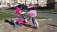 Велосипед детский 2-х двухколесный 12 дюймов с дополнительными колесами CORSO розовый для девочки от 3-4 лет