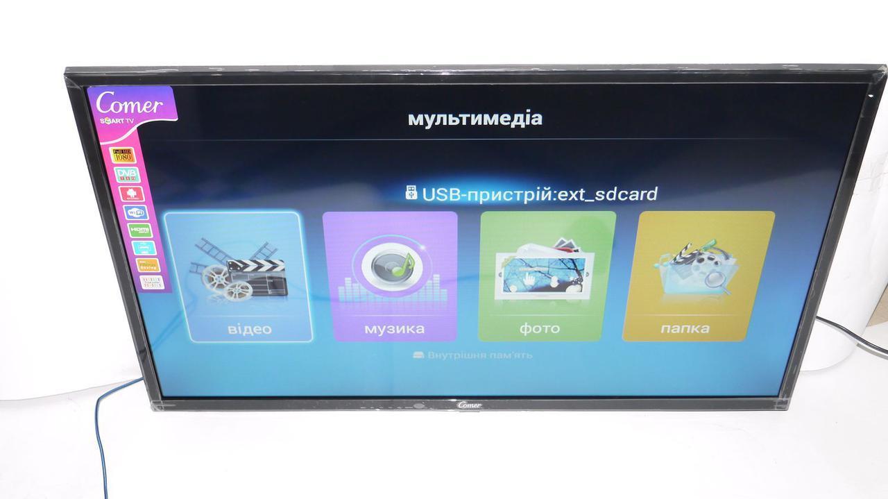 "LCD LED Телевізор Comer 32"" Smart TV, WiFi, 1Gb Ram, Rom 4Gb, T2, USB/SD, HDMI, VGA, Android"