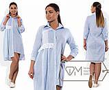 Платье-рубашка мини прямое из коттона с асимметричным подолом и складками от кружевной отделки, 2 цвета, фото 2