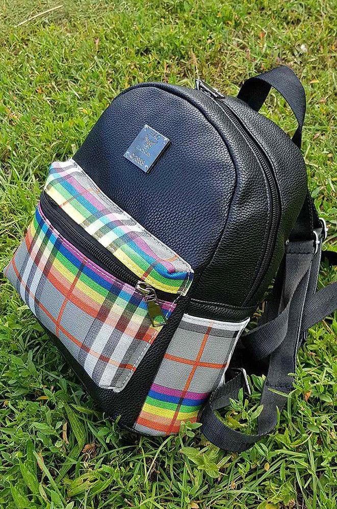 Рюкзак кожзам декор клетка радуга