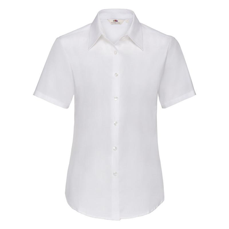 Женская рубашка поло Lady Fit Short Sleeve Oxford Shirt (Цвет: Белый; Размер: 2XL)