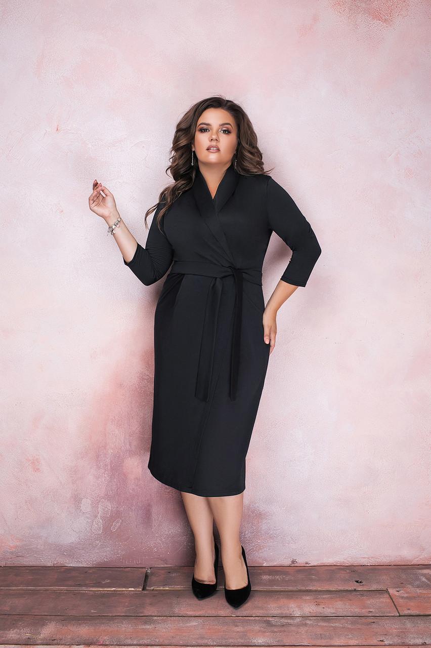 Элегантное деловое платье миди на запах с поясом, норма и  батал большие размеры