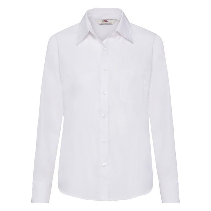 Женская рубашка поло Lady Fit Long Sleeve Poplin Shirt (Цвет: Белый; Размер: 2XL)