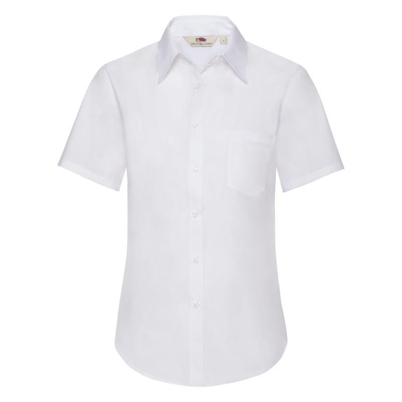 Женская рубашка поло Lady Fit Short Sleeve Poplin Shirt (Цвет: Белый; Размер: 2XL)