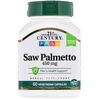 Saw Palmetto экстракт (пальма сереноа, «со пальметто») 21st Century, 60 капсул