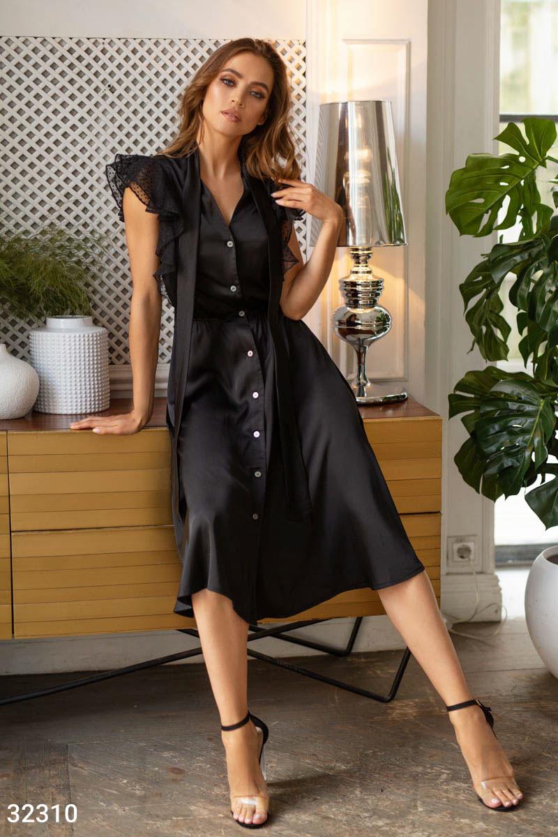 Шелковое платье-рубашка с длинными завязками на воротнике