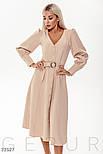 Платье-миди на пуговицах с оригинальным рукавом бежевое, фото 2