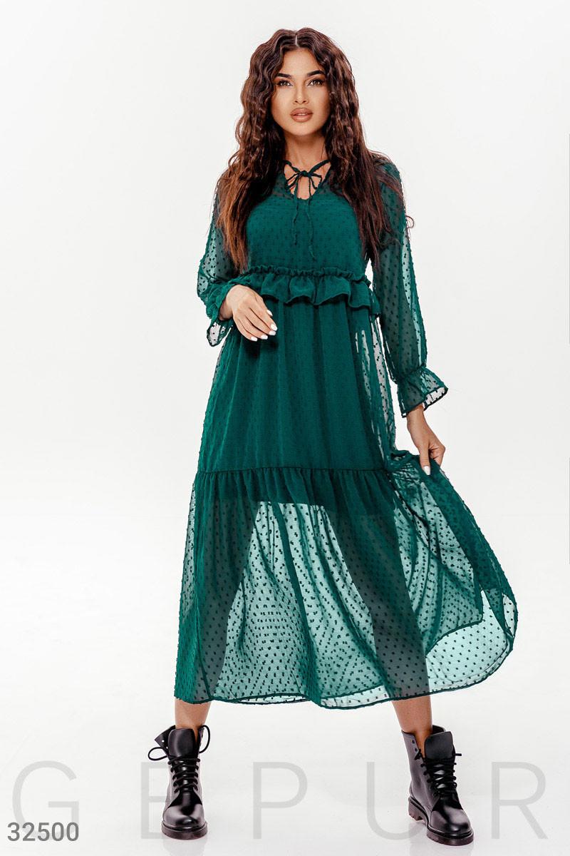 Шифоновое платье бохо в горошек зеленое