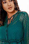 Шифоновое платье бохо в горошек зеленое, фото 2