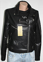 Куртка-косуха  молодежная короткая, черная