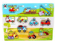 Деревянная игрушка Рамка - вкладыш Транспорт Машинки 30023, 008426