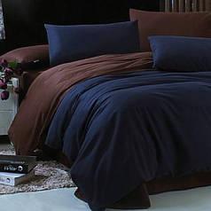 Пододеяльник поплин DeLux двусторонний Синий+Шоколад ТМ Moonlight 160х215 см