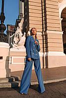 Костюм брючный женский оранжевый, синий, персиковый, фото 1