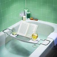 Столик для ванны AmazonBasics с выдвижными руками - белый