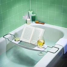 Столик для ванни AmazonBasics з висувними руками - білий