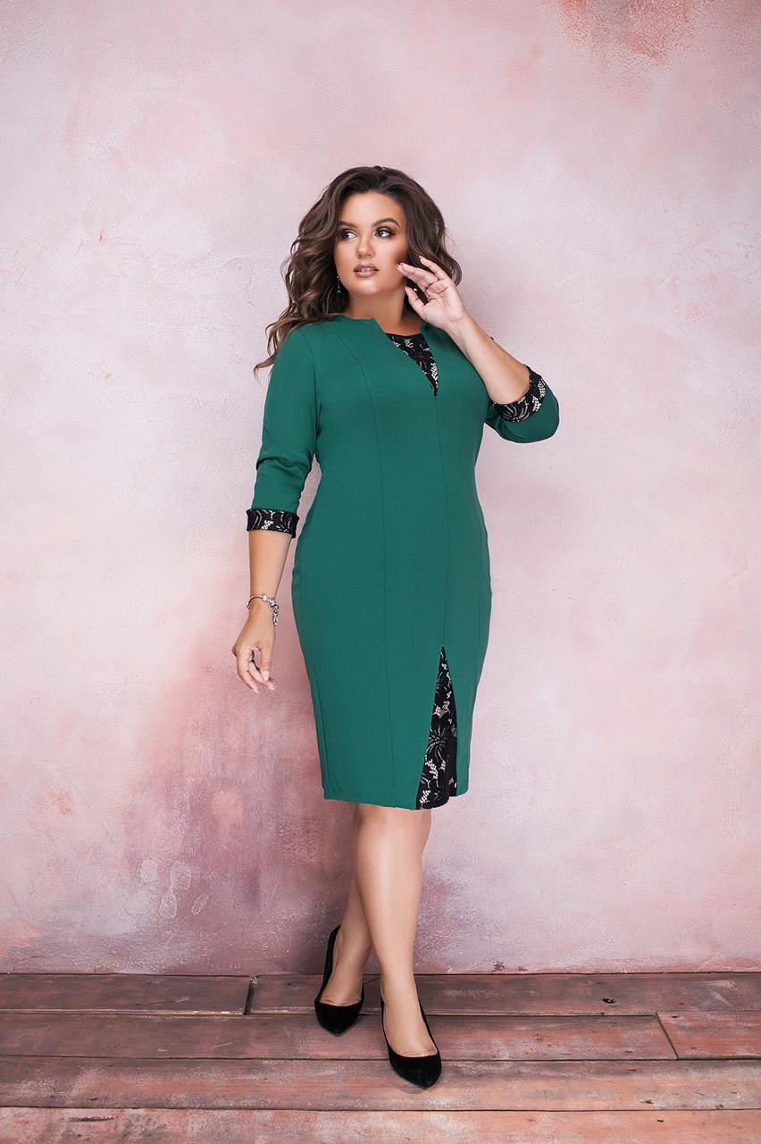 Стильное деловое приталенное платье с кружевными вставками, батал большие размеры