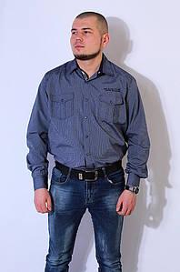 Рубашка мужская темно - синяя 2916