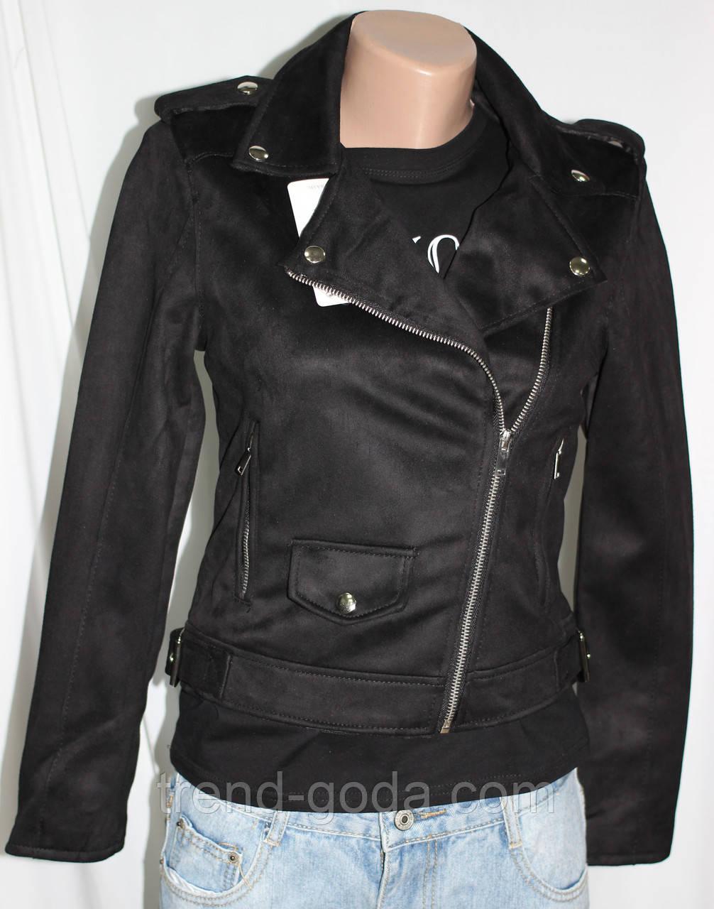 Куртка-косуха  молодежная короткая, черная, под замшу