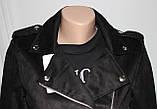Куртка-косуха  молодежная короткая, черная, под замшу, фото 3