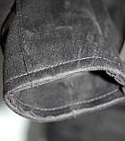 Куртка-косуха  молодежная короткая, черная, под замшу, фото 5