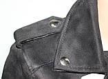 Куртка-косуха  молодежная короткая, черная, под замшу, фото 6