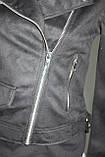 Куртка-косуха  молодежная короткая, черная, под замшу, фото 8