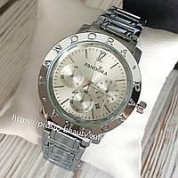 Женские часы Pandora (Пандора) серебро три циферблата календарь с датой без камней
