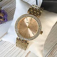 Женские часы Michael Kors (Майкл Корс) МК золото с золотым циферблатом и камушками на корпусе